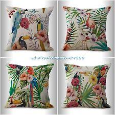 4pcs cushion covers bird toucan flamingo hibiscus flower decorative bed pillows