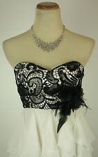 Masquerade White Blk Evening Prom Formal Cruise Short $85 Cocktail Dress size 5