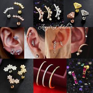 Gem Crystal Ear Cartilage Helix Ring Bar Stud Ear Cuff Climber Piercing Earring