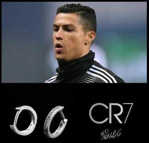 Men's/Boy's Ronaldo 18ct White Gold Plate Multi Diamond Gemstone Huggie Earrings