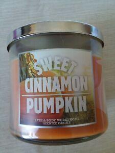 NEW Bath & Body Works SWEET CINNAMON PUMPKIN Scented 3 Wick Candle 14.5 oz