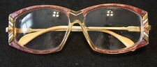 Cazal Model 194 Color(600) Size 57/? Maroon Eyeglass Frame w/Gold Accents & Lens