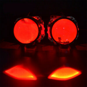 2x Red LED Demon Devil Eye Module For Car SUV Projector Lens Headlights Lamps