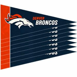 """New Denver Broncos Mini Pennant Banner Flags 4"""" x 9"""" Fan Cave Decor 8 Pk Set"""