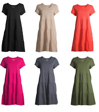 Time and Tru Women's 100% Cotton Tiered Knit Dress