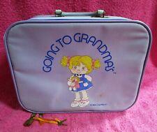 Vintage Going to Grandma's Kids Purple Travel Suitcase Luggage