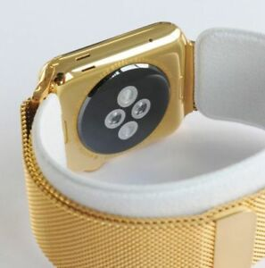 24K Gold Plated 42MM Apple Watch SERIES 3 with Gold Milanese Loop Band GPS+LTE