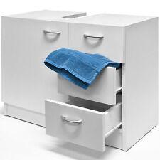 White Under Sink Cabinet 3 Drawers Bathroom Storage Unit Bath Wooden Furniture