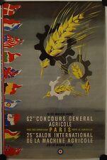 Affiche 62e CONCOURS AGRICOLE Paris 1953 Lithographie BERNADAC