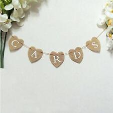 CARDS Banner Hessian Heart Bunting Sign Rustic Burlap Wedding Garland Decor - FI