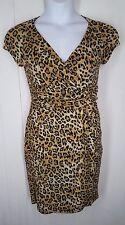 Carmen Marc Valvo Dress size S leopard v-neck cap sleeve womens animal print