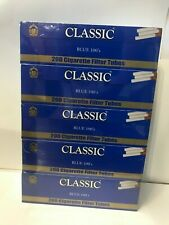 Classic Blue 100's  Size - 5 Boxes - 200 Cigarette Filter Tubes Each Box.