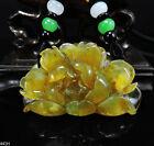 100% Natural Hand-carved Jade Pendant Jadeite Necklace peony flower 441H