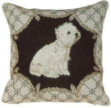 """16"""" x 16"""" Handmade Wool Needlepoint Petit Point West Highland Terrier Dog Pillow"""