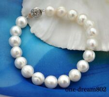 "8"" 10mm white round fresh water pearl bracelet"