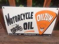 "Vintage Oilzum Motorcycle Oil Heavy Porcelain Sign Gas & Oil Sign 16.5""x11"""