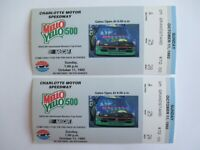 VTG 1992 Charlotte MELLO YELLO 500 Nascar 2 Ticket Stubs MARK MARTIN Race Winner