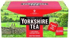 Yorkshire Tea Sachets - Individual Foiled Enveloped Tagged Tea Bag - Box Of 200