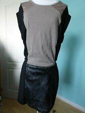Miss Captain beige black dress size IT 42 UK 14 NEW
