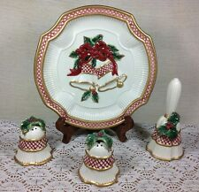 """Fitz & Floyd """"Holiday Bells""""  Canape Plate, Salt & Pepper Shakers and Bell Set"""