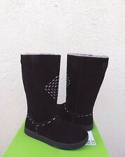 SANUK TOASTY TAILS BLACK SUEDE TALL FAUX FUR LINED BOOTS, SIZE US 7/ EUR 38 ~NEW