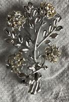 Vintage Costume Jewellery Crystal Flower Spray Silver Tone Brooch