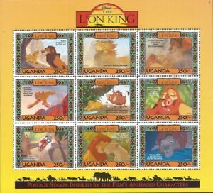 Uganda - 1994 Disney The Lion King - 9 Stamp Sheet - Scott #1268