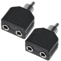 "2*RCA male plug to dual 3.5mm 1/8"" Stereo female jack Y Splitter Audio adapter"