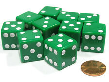 Set of 10 Large Six Sided Square Opaque 19mm D6 Dice - Green with White Pip Die