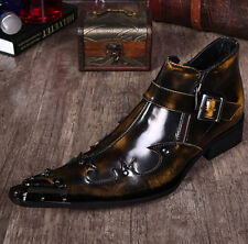 Europe Mens Leather Pointed Toe Metal Decor Flat Heel Oxford Stylish Dress Shoes