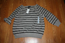 NWT Womens GRACE ELEMENTS Gray Black Striped Pullover Sweater Shirt Sz M Medium