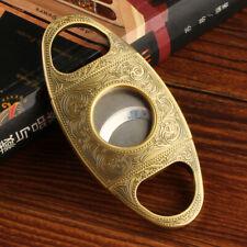 LUBINSKI Vintage Carved Design Golden Metal Cigar Cutter Guillotine