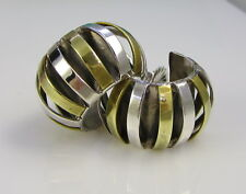 Estate Vintage LATON Mexico Sterling Silver Mixed Metal Hoop Pierced Earrings