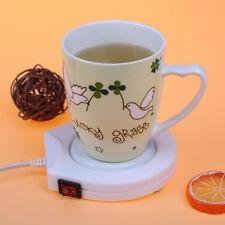 220V White Electric Powered Cup Warmer Heater Pad Coffee Tea Milk Mug VT QA