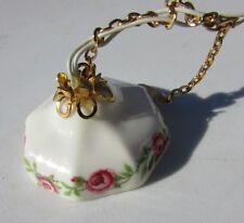 "Vintage Dollhouse Artist Ceiling Light Porcelain Brass With Roses 1.25"" Artisan"