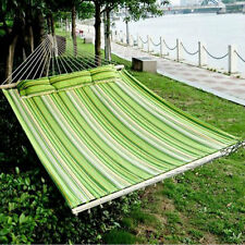 2 Person Hammock Cotton DoubleSize Sleeping Bed Camping Swing with Pillow Garden