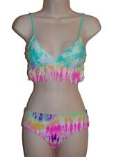 Hobie bikini set swimsuit size S fringe bralette cheeky hipster 2 piece new nwt