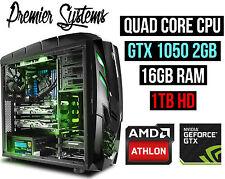 Custom Gaming PC Computer Desktop Quad Core 4GHZ 16GB RAM nVidia GTX 1050 1TB