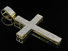 Mens Yellow Gold Sterling Silver Pave Set Genuine Diamond Cross Pendant .50 Ct