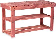 Shoe Rack and Seat Bench Cedar Fresh Two Tier Shoes Boots Organizer Space Saver