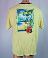 Tommy Hilfiger Island Aloha Floral 2-sided Yellow embroidered T-shirt Hawaii L