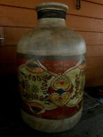 """Hand painted Large Floor Vase Made in India Beige Colorful Vintage Look apx 13"""""""