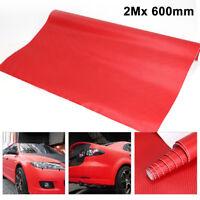 2Mx 600mm DIY 3D Carbon Fiber Vinyl Wrap Roll Film Sticker Decal Car Vehicle Red
