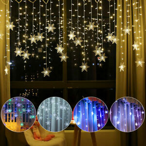 LED Snowflake Fairy String Lights Curtain Window Christmas Party Weding Decor