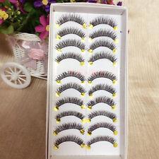 10 Paar lange dick Quer Falsche Wimpern Eye Lashes Erweiterung Makeup Set