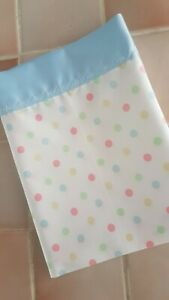 Handmade Small Spotted Baby Moses Sheet-Blue Satin to top Edge. 62cm x 50cm app