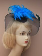 NEW  Large black net blue feather hatinator fascinator wedding races ascot prom