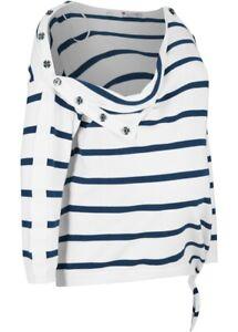 Damen Pullover für schwangere und stillende Mütter in weiß/blau Gr. 40/42 - Neu