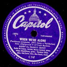 BUDDY De FRANCO SEXTET When we're alone / Extrovert  ; 78rpm   Modern-Jazz X2539