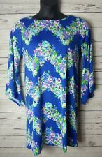 Emma and Michele M Medium Dress Knee Length Bell Sleeve Floral Beautiful Stretch